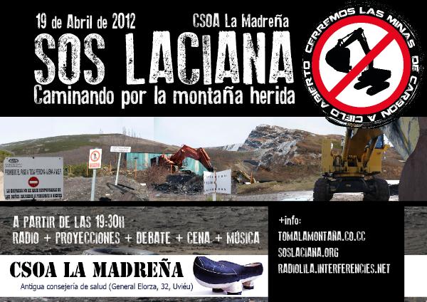 Jornada SOS LACIANA en el CSOA La Madreña (Oviedo) Jueves 19 abril  19,30h