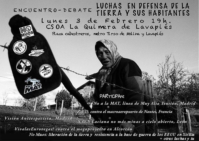 Mesa redonda COLECTIVOS EN LUCHA POR LA TIERRA. Lunes 3feb CSOA La Quimera (Madrid)
