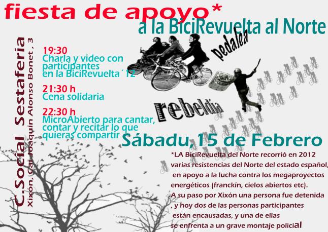 Sábado 15 Feb: Fiesta de Apoyo a la BiciRevuelta en Sestaferia