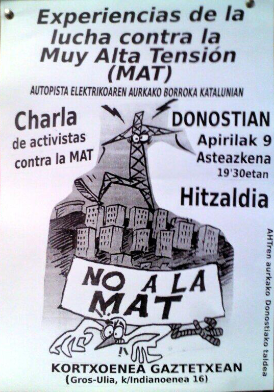 Audio de la charla No a La MAT / Kortxoenea Gaztetxea